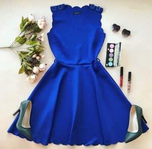 لباس مجلسی زنانه ساتن آبی کاربنی
