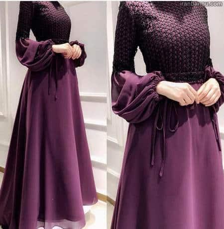 لباس مجلسی زنانه بنفش محجبه